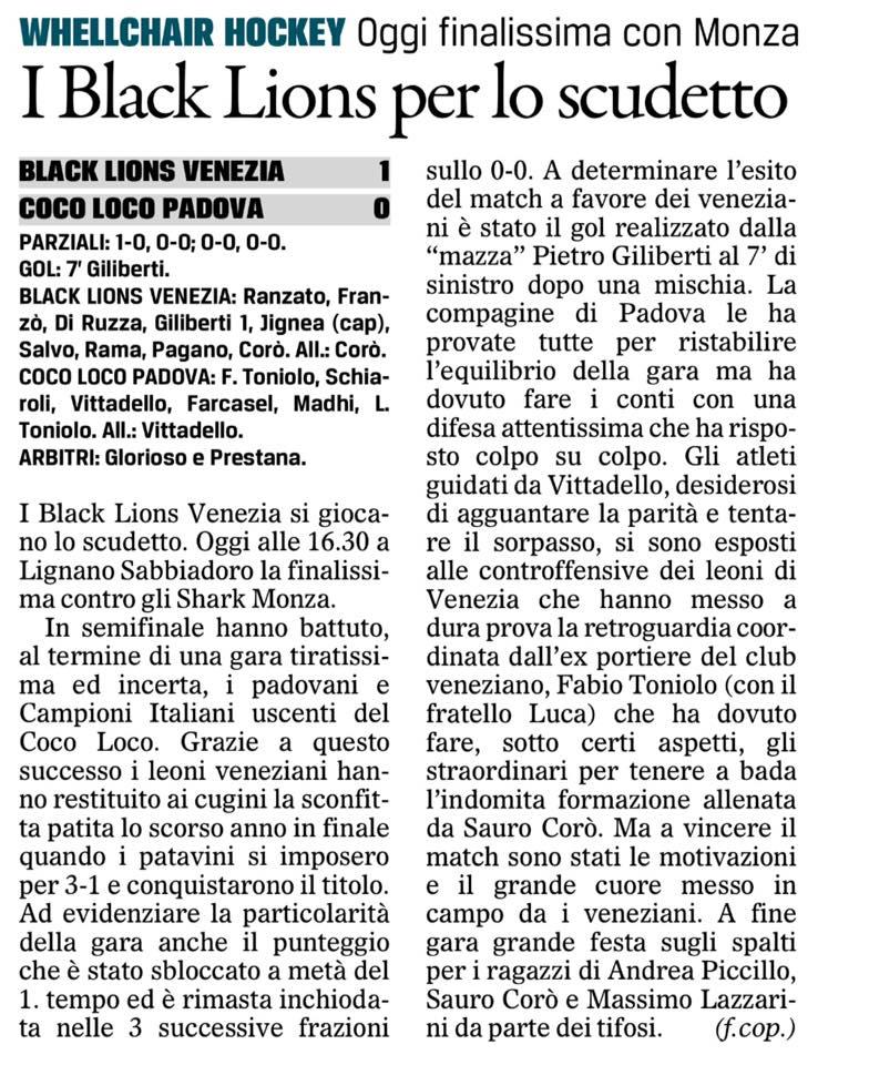 Black Lions Campioni d'Italia 2016/2017!
